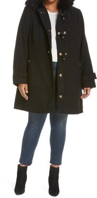 City Chic Wonderwall Faux Fur Trim Coat