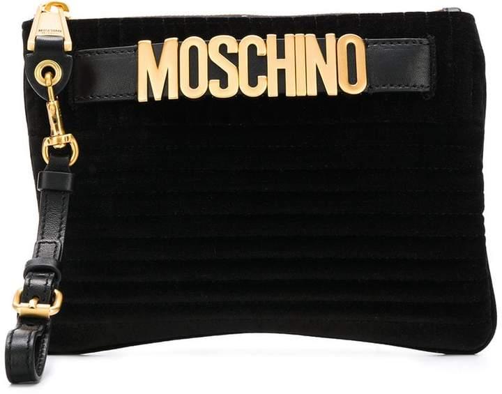 Moschino logo belt clutch