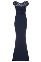Quiz Navy Lace Cap Sleeve Low Back Fishtail Maxi Dress