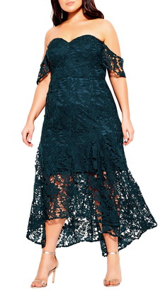 City Chic Lace Off the Shoulder High/Low Mermaid Gown
