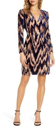 Harlyn Velvet Burnout Long Sleeve Cocktail Dress
