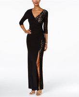 R & M Richards Petite Lace Faux-Wrap Gown