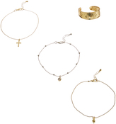 Carole Stainless Steel & Goldtone Anklet & Toe Ring Set