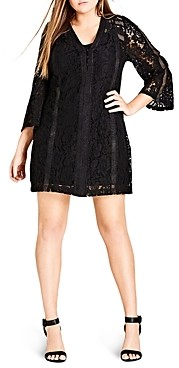 City Chic Plus City Chic Mixed Lace Dress