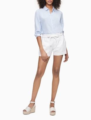 """Calvin Klein Solid Linen Blend Tie Waist 4"""" Shorts"""