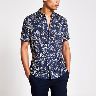 River Island Navy floral print slim fit shirt
