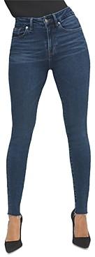 Good American Good Legs Skinny Raw Hem Jeans in Blue