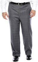 STAFFORD Stafford Gray Glen Check Flat-Front Wool Suit Pants - Portly