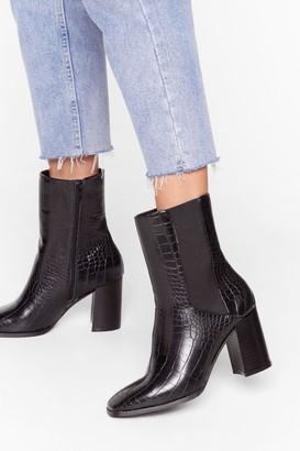 Nasty Gal Womens Wanna Croc 'N' Roll Faux Leather Heeled Boots - Black