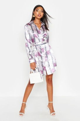 boohoo Tall Chain Print Belted Shirt Dress