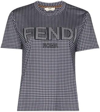 Fendi Vichy gingham logo-print T-shirt