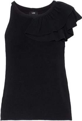 Line Estelle Asymmetric Ruffled Ribbed-knit Top