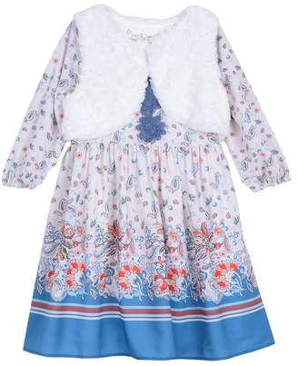 Pippa & Julie Boho Dress & Faux Fur Vest 2-Piece Set (Toddler Girls & Little Girls)