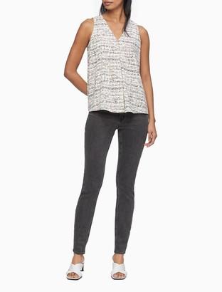 Calvin Klein Printed V-Neck Sleeveless Top