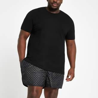 River Island Mens Big and Tall Black RI monogram swim shorts