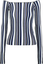 Jacquemus Off-the-shoulder Striped Ribbed Wool Sweater - Navy