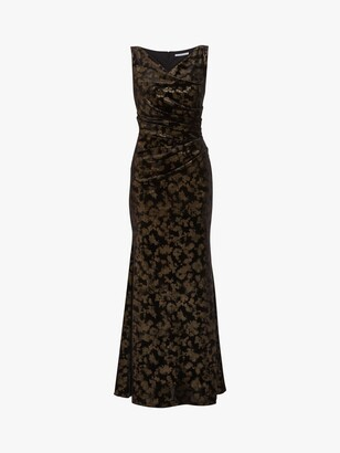 Gina Bacconi Devin Metallic Velvet Maxi Dress