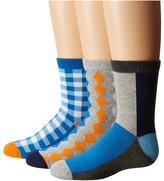 Jefferies Socks Gingham/Color Block/Argyle Crew Socks 3-Pair Pack Boys Shoes
