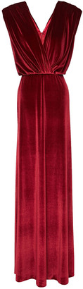 Monique Lhuillier Draped Gathered Stretch-velvet Gown