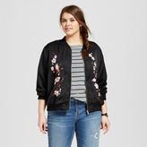 Xhilaration Women's Plus Size Embroidered Bomber Jacket Black