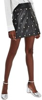Topshop Women's Stud & Grommet Leather Miniskirt