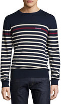 Moncler Logo Striped Crewneck Sweater