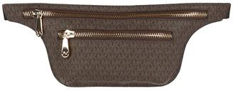 MICHAEL Michael Kors Double Zip Belt Bag (Chocolate Logo) Bags
