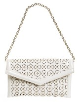 Sondra Roberts Perforated Faux Leather Clutch - White
