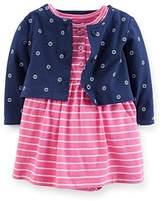 Carter's 2 Piece Striped Dress Set (Baby) - Pink-9 Months