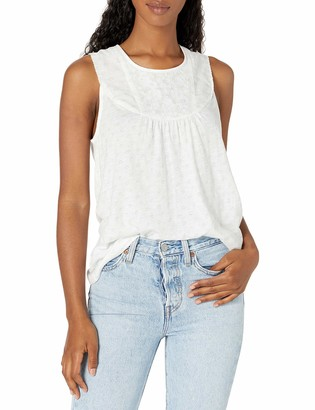 Lucky Brand Women's Sleeveless Crew Neck Embroidered Yoke Tank Top
