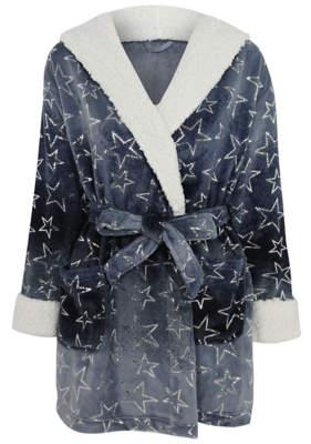 George Blue Star Print Foil Dressing Gown