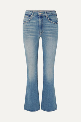 Mother Desperado Distressed High-rise Flared Jeans - Mid denim