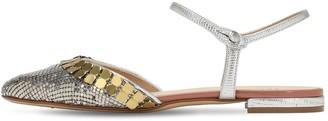 Francesco Russo 10mm Metallic Mesh & Leather Ballerinas