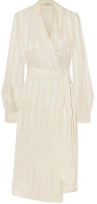 La Collection - Eleni Striped Silk-satin Wrap Dress - White