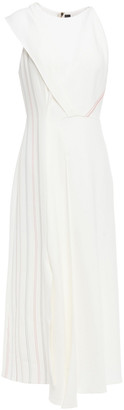 Roland Mouret Asymmetric Pleated Two-tone Stretch-crepe Midi Dress