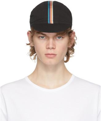Paul Smith Black Artist Stripe Cycling Cap