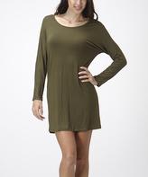 Bellino Olive Scoop Neck Dolman Dress