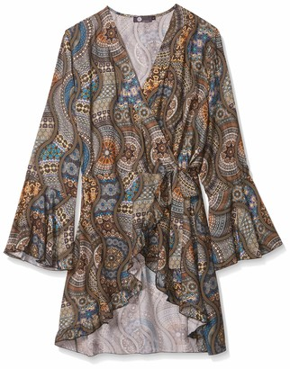 M Made in Italy Women's Wrap Tunic with Ruffle Sleeve and All Over Print