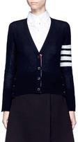Thom Browne Stripe sleeve cashmere V-neck cardigan