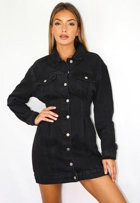Missguided Black Cinched Waist Denim Jacket Dress