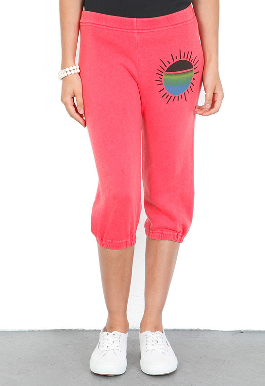 Singer22 Day By Day Cropped Sweatpant in Cherry Red