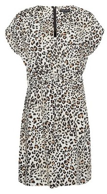 Dorothy Perkins Womens Leopard Print Tie Front Dress