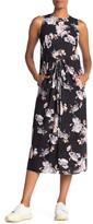 Vince Peony Print Shirred Drawstring Midi Dress