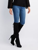Charlotte Russe Ruched Lace-Up Back Over-The-Knee Boots