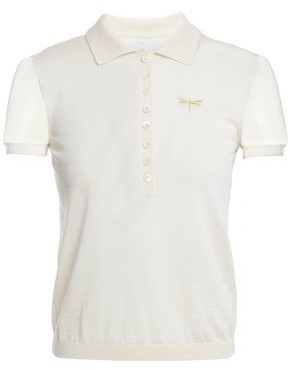 RED Valentino Point D'esprit-trimmed Cashmere And Silk-blend Polo Shirt