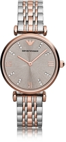 Emporio Armani T-Bar Two Tone Stainless Steel Women's Watch w/Dark Gray Sunray Dial