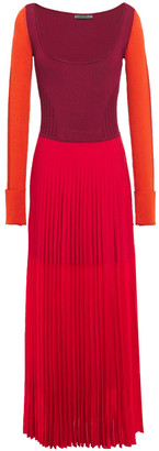 Alexander McQueen Pointelle-trimmed Color-block Ribbed-knit Maxi Dress