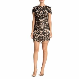 Dress the Population Women's Megan Short Sleeve Sequin Lace Mini Sheath Dress