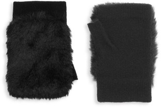Carolina Amato Faux Fur & Knit Fingerless Gloves