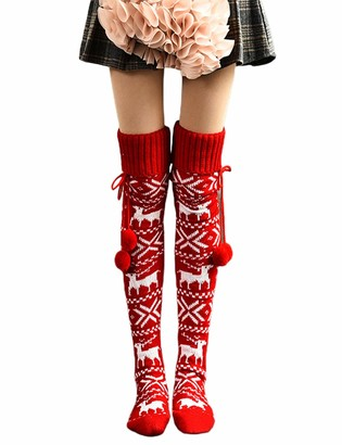 Huyghdfb Womens Thigh High Over The Knee High Knit Boot Socks Christmas Stockings Warm Deer Leg Warmers (Red One Size)